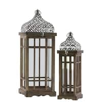 UTC40816 Wood Lantern Natural Wood Finish Brown