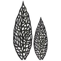 UTC67122 Metal Ornament Coated Leaf Finish Black