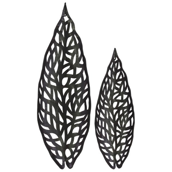 UTC67122 Metal Ornament Coated Leaf Finish Black