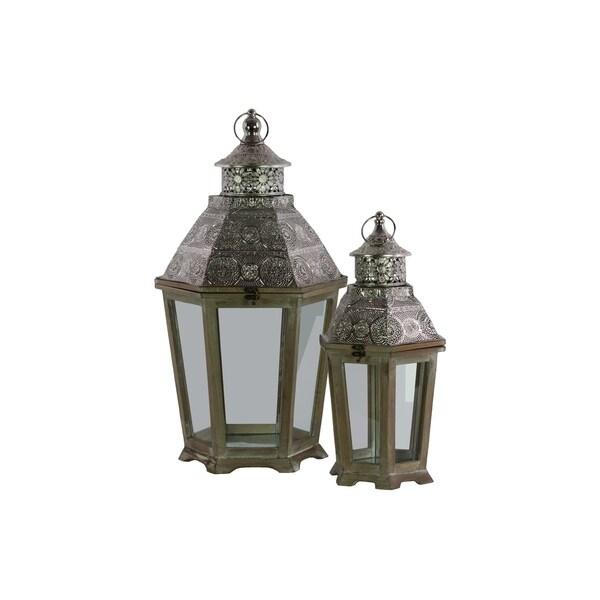 UTC41000 Wood Lantern Natural Wood Finish Brown