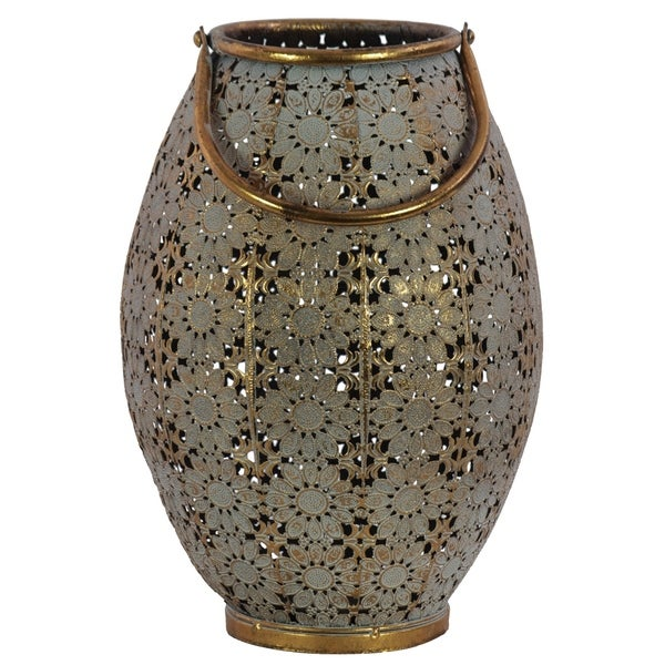 Urban Trends Metal Round Lantern with Sunburst Design Pierced Metal Body and Handle in Metallic Finish, Large - Gold - N/A