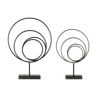 Urban Trends Metal Round Abstract Sculpture Design with Rectangular Stand in Rust Finish, Set of 2 - Gunmetal Gray - N/A