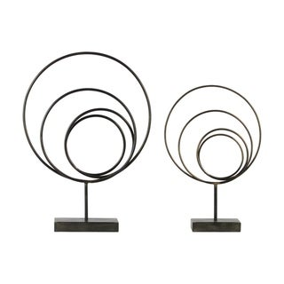 Urban Trends Metal Round Abstract Sculpture Design with Rectangular Stand in Rust Finish, Set of 2 - Gunmetal Gray