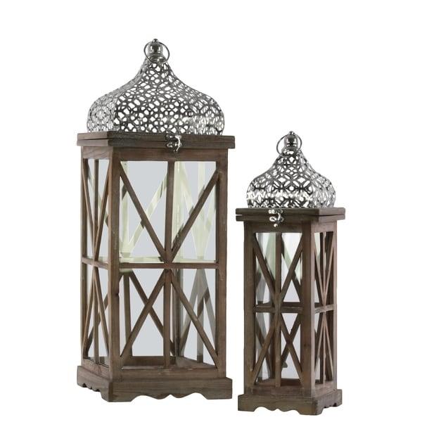 UTC40817 Wood Lantern Natural Wood Finish Brown