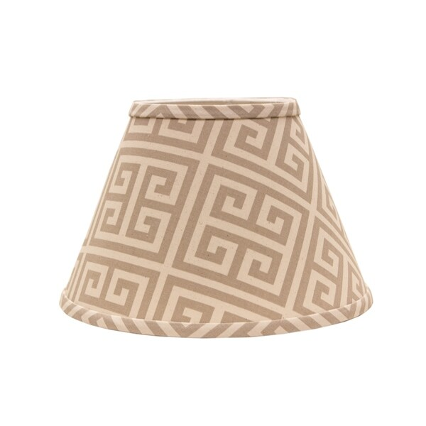 Somette Taupe and Natural Greek Key 14 inch Empire Lamp Shade with Uno Fitter
