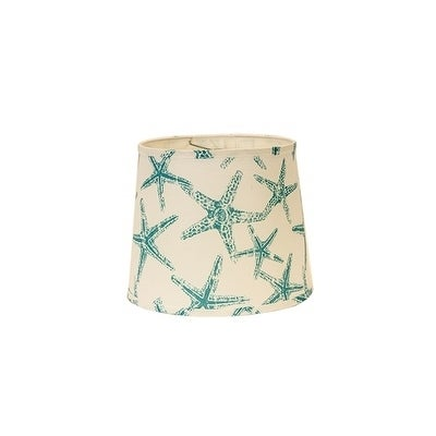 Somette Aqua Star Fish 12 inch Drum Lamp Shade with Washe...