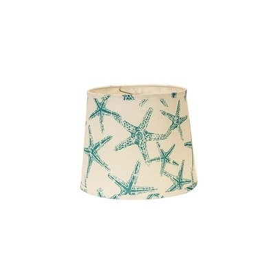 Somette Aqua Star Fish 12 inch Drum Lamp Shade with Washer