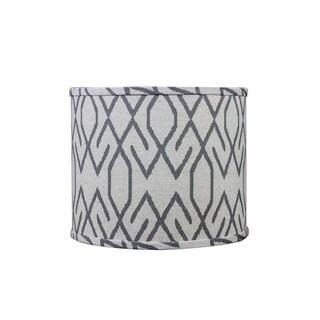 Somette Broken Diamonds Dark Grey 14 inch Drum Lamp Shade with Washer