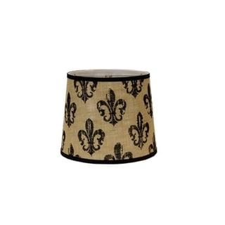 Somette Black Fleur De Lis Burlap 14 inch Drum lamp Shade with Washer