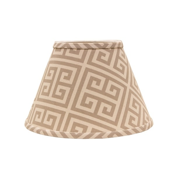 Somette Taupe and Natural Greek Key 14 inch Empire Lamp Shade with Washer