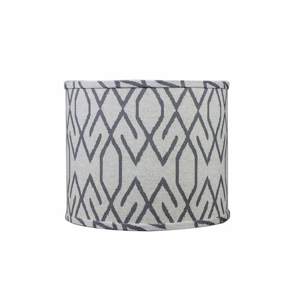 Somette Broken Diamonds Dark Grey 16 inch Drum Lamp Shade with Uno