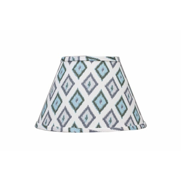 Somette Aqua And Grey Diamonds 12 inch Empire Lamp Shade with Washer