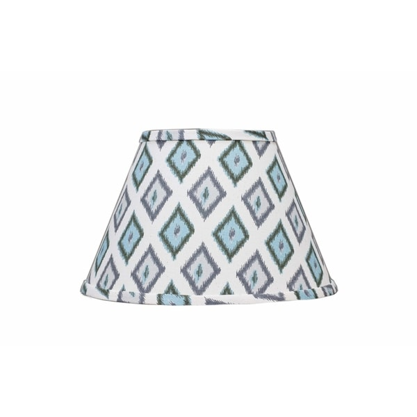 Somette Aqua And Grey Diamonds 14 inch Empire Lamp Shade with Washer