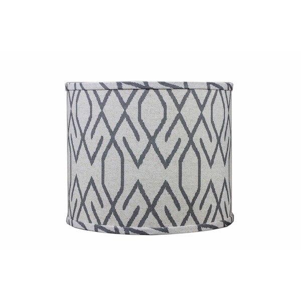 Somette Broken Diamonds Dark Grey 16 inch Drum Lamp Shade with Washer