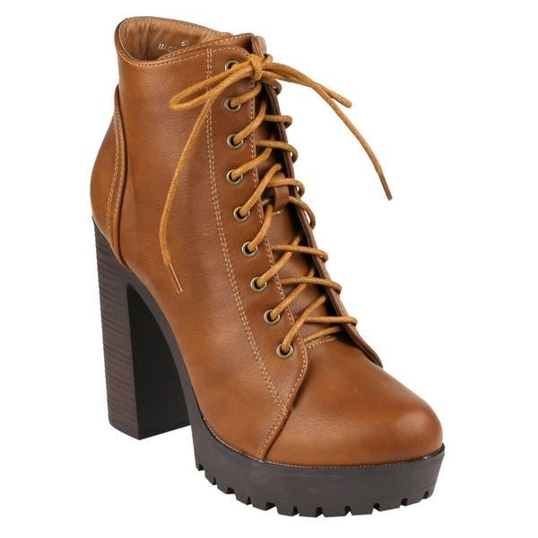 36e101363e5 Shop Beston FM39 Women's Platform Lug Sole Stacked Chunky Heel ...