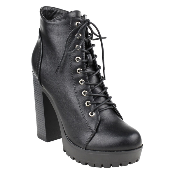 FM39 Women's Platform Lug Sole Stacked Chunky Heel Combat Booties