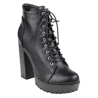 Beston FM39 Women's Platform Lug Sole Stacked Chunky Heel Combat Booties (More options available)