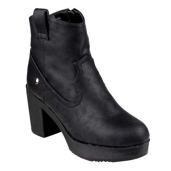 FM38 Women's Western Style Platform Ankle High Top Block Heel Booties