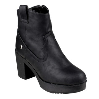 Beston FM38 Women's Western Style Platform Ankle High Top Block Heel Booties