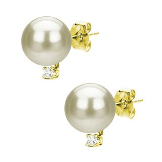 DaVonna 14k Gold White Akoya Pearl and 1/10ct TDW Diamond Stud Earring (8-9 mm)