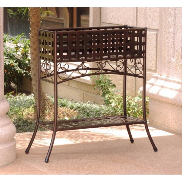 International Caravan Rustic Iron Rectangular Plant Stand