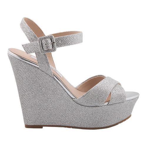 deca594e596 Shop Women s Nina Jinjer Wedge Sandal Silver Dreamland Metallic Fabric -  Free Shipping Today - Overstock - 15038365