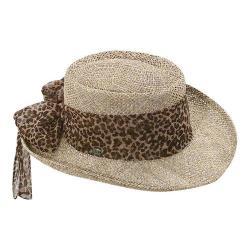 Women's Scala LS106OS Gambler Hat with Animal Print Bow Natural