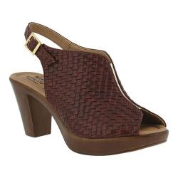 Women's Spring Step Jazmin Peep Toe Slingback Brown Synthetic leather