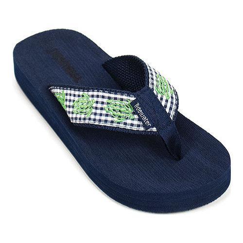 9e43a03e11fd43 Thumbnail Girls  x27  Tidewater Sandals Gingham Turtle Flip Flop  Black White Green
