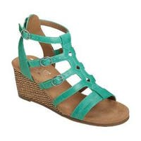 Women's Aerosoles Sparkle Gladiator Sandal Turquoise Faux Leather