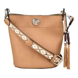 Women's Nine West Belynda Mini Bucket Bag Dark Camel/Platino/Milk Multi