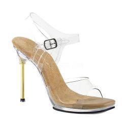 Women's Fabulicious Chic 08 Ankle-Strap Sandal Clear PVC-Tan/Clear