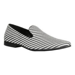 Men's Giorgio Brutini Cimron Smoking Loafer White/Black Woven Synthetic