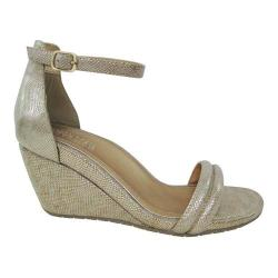 Women's Kenneth Cole Reaction Cake Icing Wedge Sandal Soft Gold Embossed Polyurethane