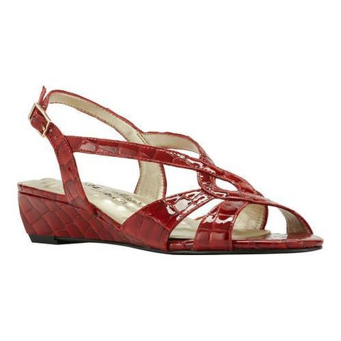 Women's Walking Cradles Dixie Demi Wedge Slingback Red Croco Print Leather