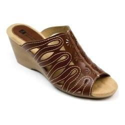 Women's White Mountain Pershing Wedge Slide Brown Burnished Smooth Synthetic