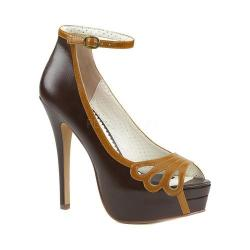 Women's Pin Up Bella 31 Open-Toe Ankle Strap Pump Dark Brown-Maple Faux Leather