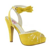 Women's Pin Up Bettie 01 Ankle-Strap Sandal Yellow Faux Leather