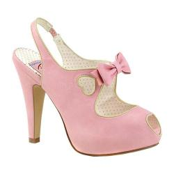 Women's Pin Up Bettie 03 Peep-Toe Slingback Baby Pink Faux Leather
