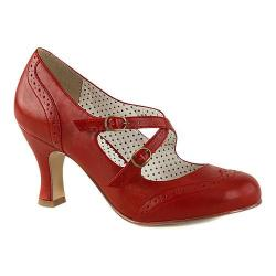 Women's Pin Up Flapper 35 Mary Jane Red Faux Leather
