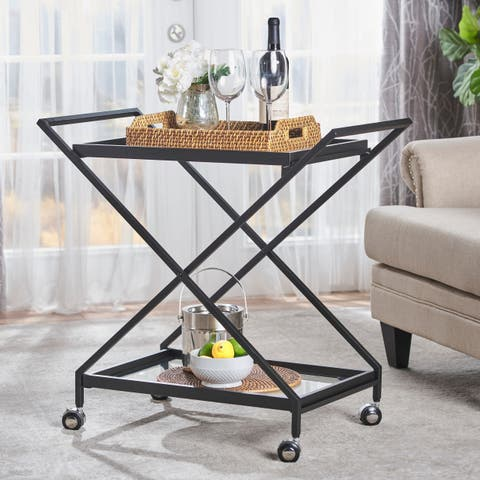 Sherianne Industrial Tempered Glass Bar Cart by Christopher Knight Home - N/A