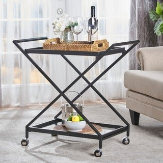 Sherianne Industrial Iron Tempered Glass Bar Cart by Christopher Knight Home