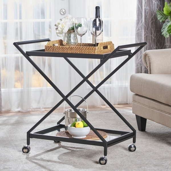 Sherianne Industrial Tempered Glass Bar Cart by Christopher Knight Home. Opens flyout.