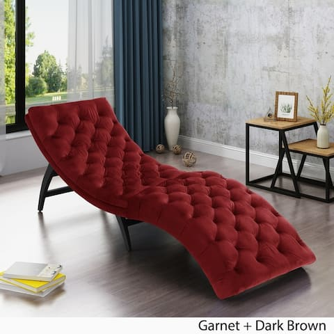 Garret Tufted Velvet Chaise Lounge by Christopher Knight Home