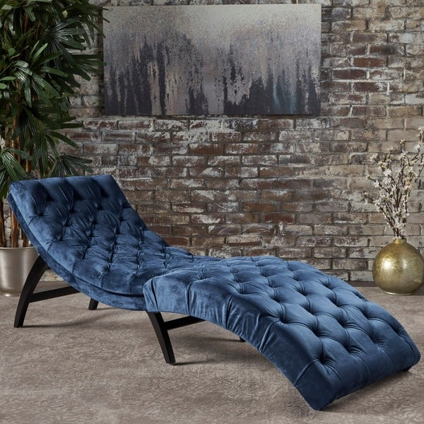 Garret Tufted Velvet Chaise Lounge by Christopher Knight Home : tufted velvet chaise - Sectionals, Sofas & Couches