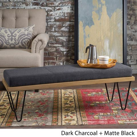 Elisha Industrial Modern Fabric Rectangle Bench by Christopher Knight Home