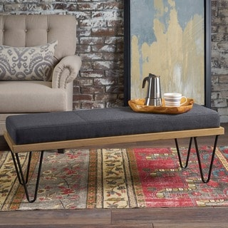 Link to Elisha Industrial Modern Fabric Rectangle Bench by Christopher Knight Home Similar Items in Living Room Furniture