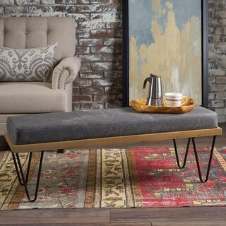 Link to Elisha Industrial Modern Microfiber Rectangle Bench by Christopher Knight Home Similar Items in Living Room Furniture