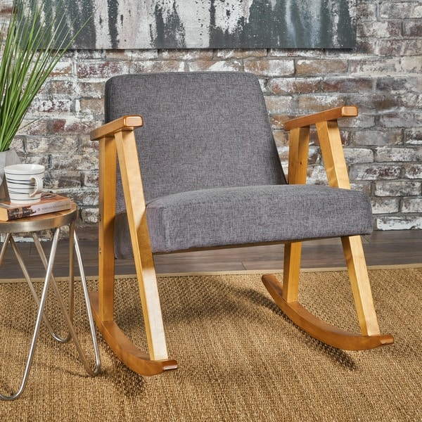 Nevies Mid Century Modern Fabric Rocking Chair by Christopher Knight Home