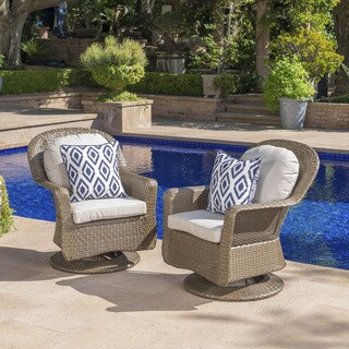 Liam Outdoor Wicker Swivel Club Chair with Cushion (Set of 2) by Christopher Knight Home